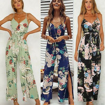 AU10.79 • Buy Women V Neck Floral Backless Jumpsuit Long Pant Playsuit Strappy Overall Trouser