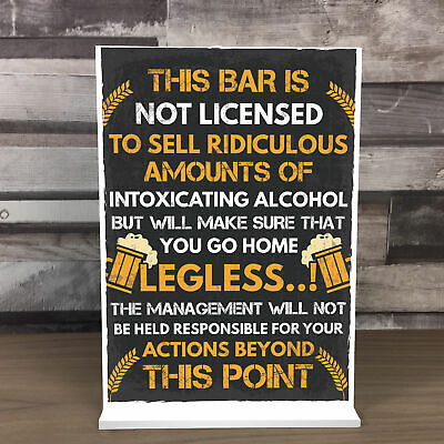 £4.99 • Buy Funny Bar License Alcohol Sign For Home Bar Pub Man Cave Novelty Standing Plaque