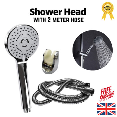 Silver Chrome 3 Modes Shower Head With Flexible Hose Pipe And Bracket Set (2M) • 8.99£