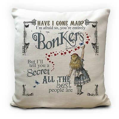 ALICE IN WONDERLAND Cushion Cover Bonkers Hearts Mad Hatter Tea Party Prop 40 Cm • 11.99£