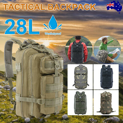 AU24.99 • Buy 28L Military Tactical Backpack Molle Rucksacks Camping Hiking Trekking Camo Bag
