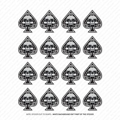16 X Ace Of Spades Skull Stickers - Car Laptop Macbook Decals Sticker - SKU5360 • 2.99£