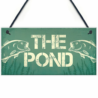 £3.99 • Buy Fishing THE POND Sign Novelty Garden Plaque Gifts For Dad Grandad Fisherman