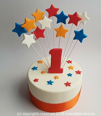 Stars Cake Topper Funky Colours Multi Colors Age Birthday Wiggles Champion  • 19.88£