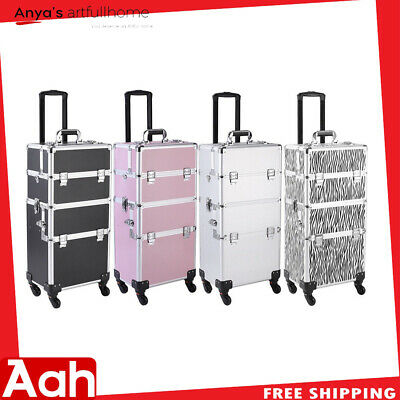 $77.16 • Buy 3 In 1 Aluminum Rolling Makeup Train Case Professional Beauty Cosmetic Trolley