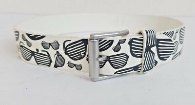 $8.99 • Buy Old Navy Leather Kids Belt White Black With Sunglasses Design Small  29