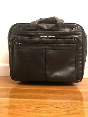 Wilson's Leather Black Leather Wheeled Business Laptop Case Bag Airport Travel • 32.19£