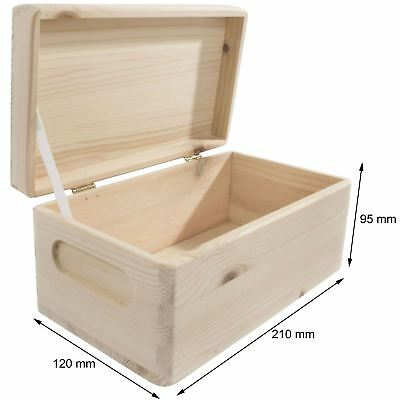 Wooden Storage Box 21x12x9cm With Lid /Etched Handles /Unpainted Pine Decoupage • 9.95£