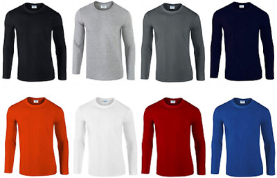 5 Pack Gildan Mens Long Sleeve T-Shirt SoftStyle 100% Ringspun Cotton Casual Tee • 18.69£