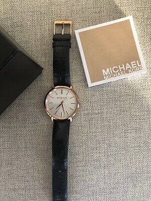 a5cc442833d8 Michael Kors Watches Womens Rose Gold-Tone And Black Leather Pyper Watch •  59.99