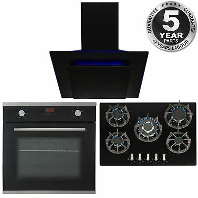 SIA 60cm Black Single Electric Oven, 70cm Gas Hob & Angled Cooker Hood Extractor • 515.99£