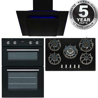 SIA Black Built In Double Electric Oven, 70cm Gas Hob & 60cm Angled Cooker Hood • 645.99£