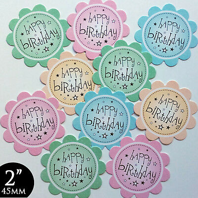 10 BIRTHDAY Sentiments 2  PRETTY PASTELS Card Making Toppers Hand Made (BPAS2) • 1.09£