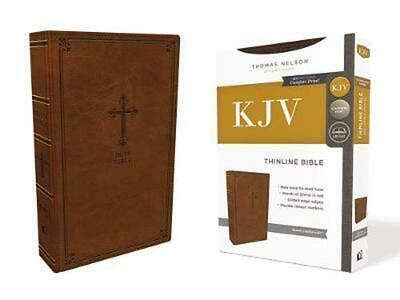 AU34.86 • Buy Kjv, Thinline Bible, Leathersoft, Brown, Red Letter Edition, Comfort Print: Holy