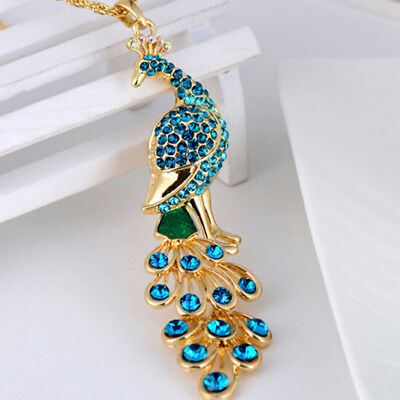 AU10.33 • Buy Blue Crystal Peacock Necklace For Women Jewelry Prom Bridal Pendants Chain Cool