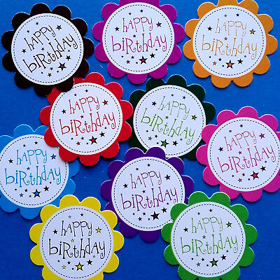 10 Happy Birthday Sentiments - Printed Hand Made Card Toppers -solid Mix (bso3) • 0.99£