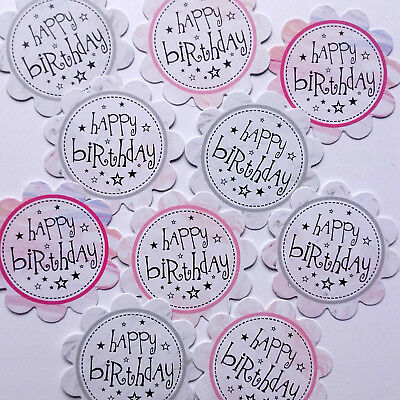 10 Happy Birthday Sentiments - Printed Hand Made Card Toppers - Marble (bmar) • 0.99£