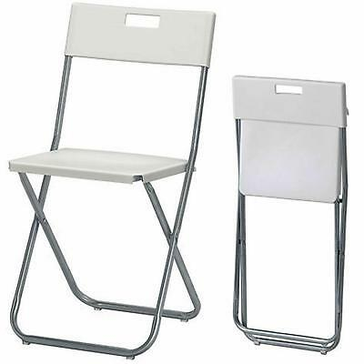 White Folding Chair Home Office Study Desk Small Portable Fold Away Metal • 19.38£