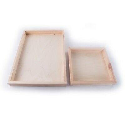 Wooden Shallow Tray Display Presentation Box Unpainted Decorative Pine/ 2 Sizes  • 7.99£