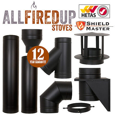 Black Shieldmaster Twin Wall Chimney Systems For Multifuel Wood Burning Stoves • 21.62£