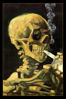 $ CDN15.71 • Buy Vaping Skull Of A Skeleton Van Gogh Parody Art Humor Poster 12x18 Inch
