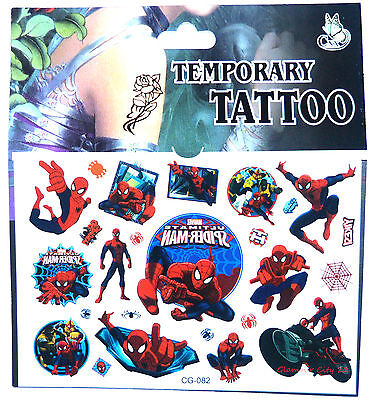 NEW Spiderman Temporary Tattoo Sheet Children Kids Birthday Party Bag Filler • 2.98£