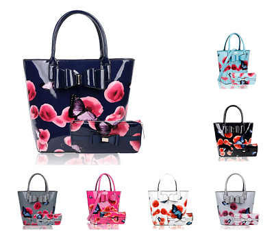 £29.99 • Buy Womens Poppy Flower Butterfly Print Shiny Patent Large Shoulder Tote Bag + Purse