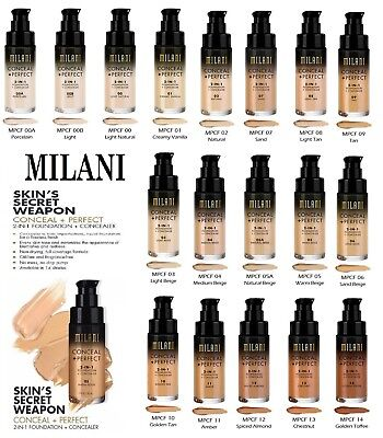 MILANI Conceal + Perfect 2 In 1 Foundation + Concealer 30ml - All Shades • 14.99£
