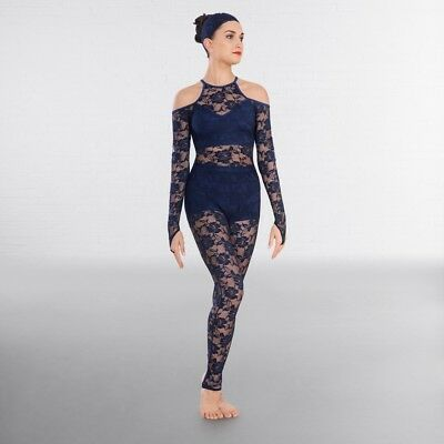 Blue Floral Lace High Neck Contemporary Modern Catsuit Dance Costume • 52.99£