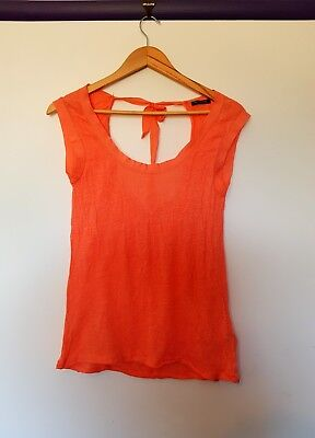 AU11.99 • Buy Massimo Dutti Womens Size XS Coral Pink Knit Keyhole Back Short Sleeve Top