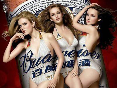 Budweiser Girls Sexy, Plaque Retro Art  Printed Metal Sign Vintage Sign Tin • 7.99£