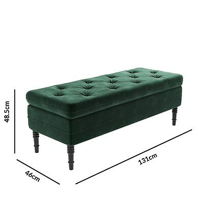 Safina Ottoman Storage Bench In Bottle Green Velvet With Button Detail SAF050 • 242.97£