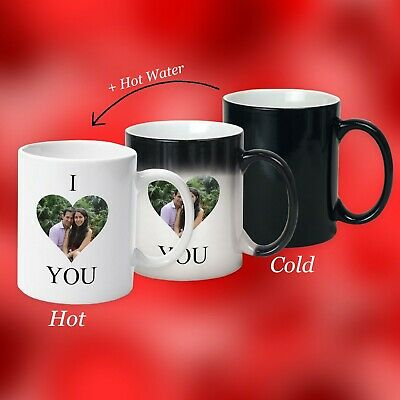Valentine Day Gift, Personalised Magic Mug, With Secret Message Of I Love You • 9.99£