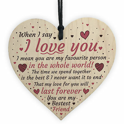 I Love You Heart Romantic Anniversary Valentines Day Gift For Husband Wife Sign • 3.99£