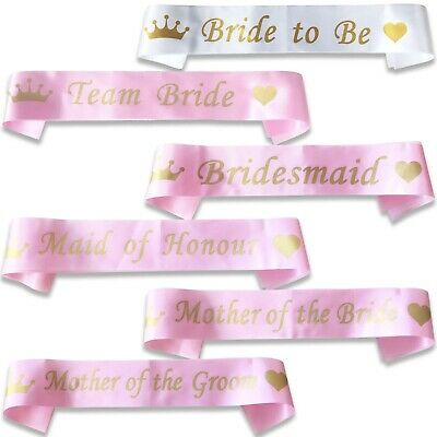 *pink With Gold* Bulk Buy Lot Hen Party Team Bride Sash Sashes Girls Night Do • 1.99£