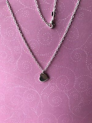 £4.99 • Buy Sterling Silver 925 Necklace With Stainless Steel Heart Charm