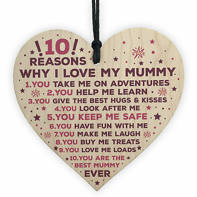 Mummy Gifts From Son Mother And Daughter Gifts Heart 10 Reasons Why I Love You • 3.99£