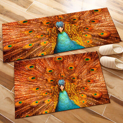 £18.91 • Buy Peacock Showing Feathers Bedroom Floor Area Rugs Kitchen Mat Decor Soft Carpet