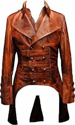 Steampunk Gothic Matrix Victorian Style Men's Leather Coat Jacket - ALL SIZES • 86.41£