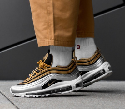 cb9b2d1713 Nike Air Max 97 Se Gold Silver Black White Girls Women's Trainers All Sizes  • 146.01