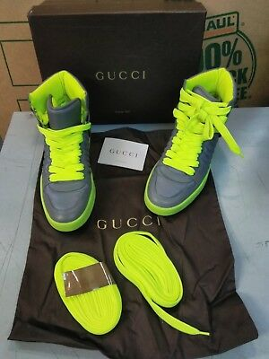 1eb79a75540 Gucci Gray neon Green Women s High Top Sneakers Sz 38.5 G (us Size 8.5