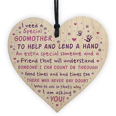 £3.99 • Buy Godmother Asking Gift Wood Heart Thank You Christening Gift For Friend Godparent