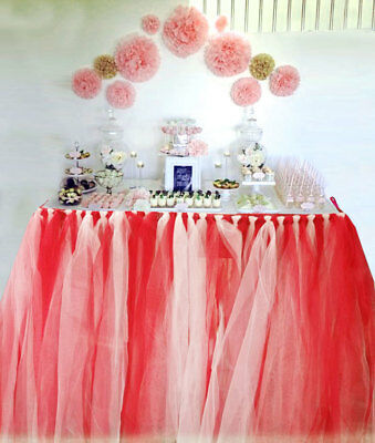 Handmade Table TuTu Skirt Table Cover For Dinner Parties Table Decoration RED/WH • 16.95£