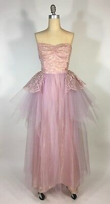 £67.36 • Buy Vintage 1950's Sweetheart Bust LILAC PURPLE Tulle, Lace Prom Dress Gown Size XXS