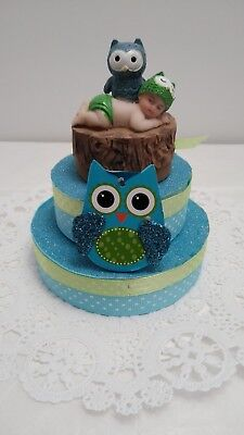Owl Baby Shower Birthday Cake Topper Decoration Favor Figurine O 1800