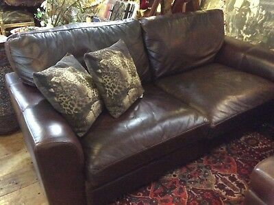Sofa Genuine Real Leather Vintage Halo Distressed Large Vintage 3/4 Seater 200cm • 1,350£