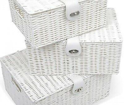 Under Bed Storage Box White Chest Toy Clothes Baskets With Lid And Lock Set Of 3 • 24.98£