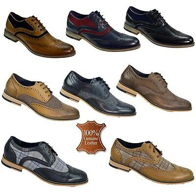 Mens Real Leather Shoes Brogues Two Tone Tweed Formal Casual Wedding Footwear • 39.99£