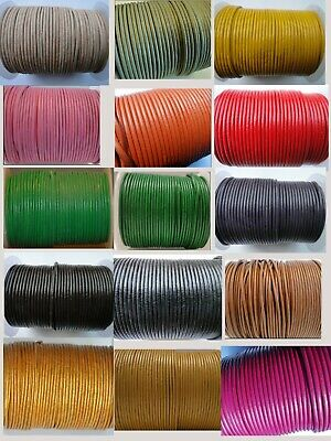 £3.15 • Buy Real Round Leather Cord 1 Mm String Lace Thong For Jewellery Necklace Genuine HQ