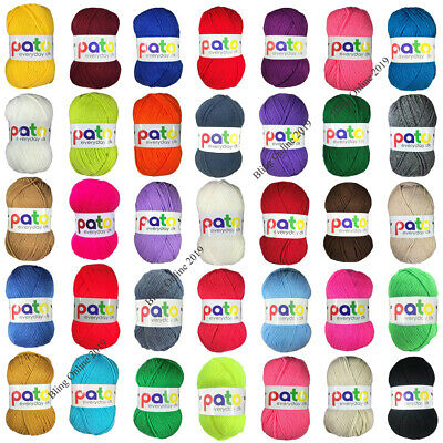NEW PATO EVERYDAY DK DOUBLE KNIT KNITTING CROCHET YARN 100g BALL ARCRYLIC WOOL • 2.95£